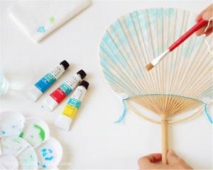 优达思清凉一夏手绘彩扇 荷塘月色手绘扇亲子DIY
