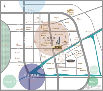 世纪中心(原天空之城)的位置图