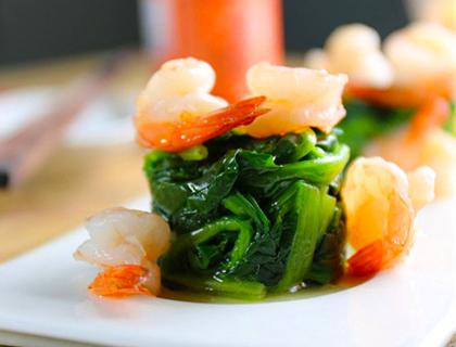 芒果色拉芦笋+菠菜虾仁塔