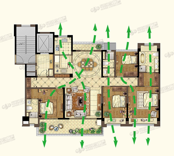 碧桂园紫云名邸,户型解析,动静分区,户型流线示意图,常熟零距离
