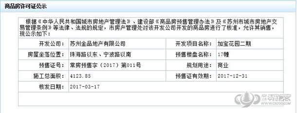 常熟零距离房产网 加宝花园二期商业17#楼通过预售许可审批